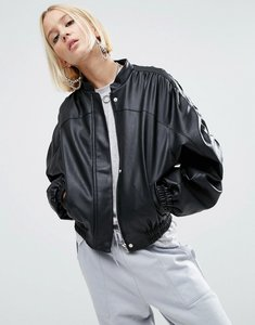 Read more about Asos faux leather jacket with 80s styling - black