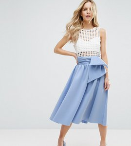 Read more about Asos petite scuba prom skirt with tie waist - blue