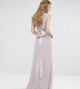 Read more about Tfnc wedding bow back embellished maxi dress - lavender fog
