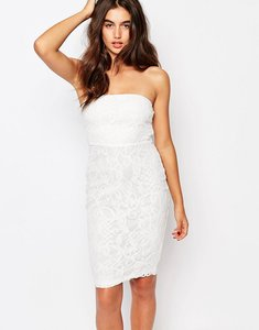 Read more about Missguided floral bandeau lace midi dress - white