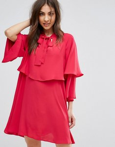 Read more about Mango flute sleeve tie front smock dress - pink