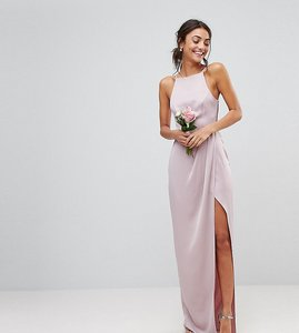 Read more about Asos design tall drape front strappy back maxi dress - mink