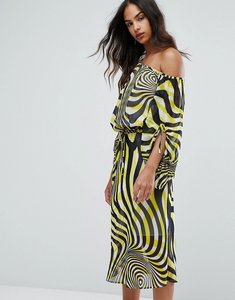 Read more about Warehouse premium swirl print ruched sleeve midi dress - multi