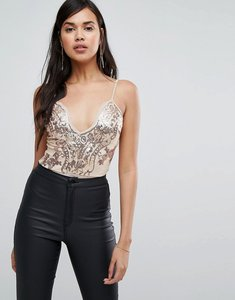 Read more about Naanaa scalloped plunge front body in sequin lace - rose gold