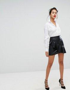Read more about Morgan asymmetric ruffle mini skirt - black