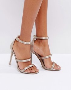 Read more about Missguided nude satin three strap barely there heels - taupe