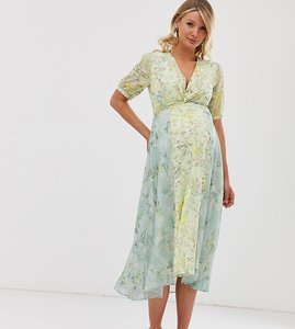 Read more about Hope ivy maternity wrap front panelled midi skater dress in floral print