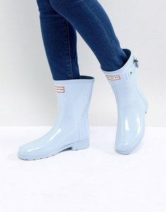 Read more about Hunter original refined short gloss wellington boots in pale blue - fountain blue