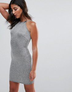 Read more about Oh my love square neck bodycon dress - silver
