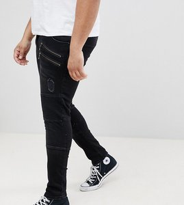 Read more about Asos plus super skinny jeans in washed black biker with rips - washed black
