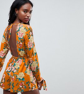 Read more about Influence tall open back floral print playsuit - burnt orange