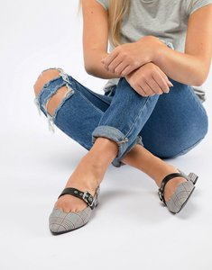 Read more about Pull bear check slingback shoe in grey - grey