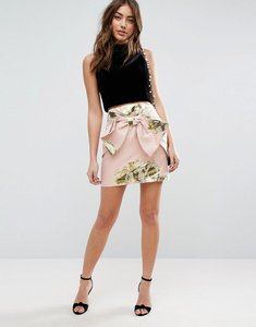 Read more about Asos mini skirt in metallic jacquard with bow detail - pink