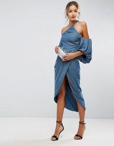 Read more about Asos one shoulder velvet drape midi dress - dusky blue
