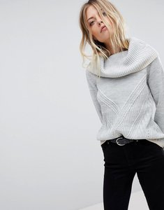 Read more about Oasis ribbed cowl neck jumper - grey