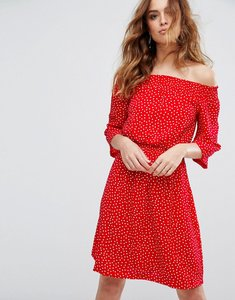 Read more about Y a s abby dot off shoulder dress - red