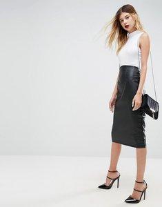 Read more about Asos sculpt me leather look high waist pencil skirt - black