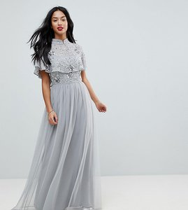 Read more about Frock and frill petite premium embellished top high neck maxi dress - grey silver