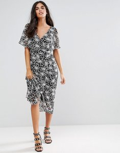 Read more about Rage ditsy floral midi dress - black white