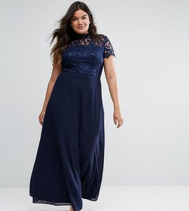 Read more about Chi chi london plus 2 in 1 high neck maxi dress with crochet lace - navy