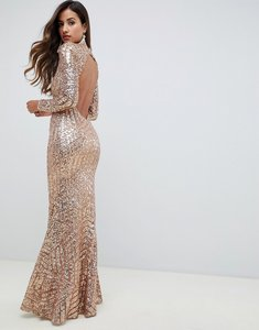 Read more about City goddess long sleeved open back sequin maxi dress - gold