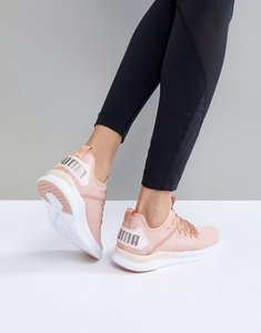 Read more about Puma running ignite flash evoknit satin trainers in dusky pink - pink