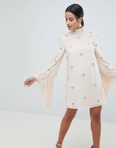 Read more about Asos design embellished shift mini dress with fringed sleeves - nude