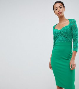 Read more about City goddess tall 3 4 sleeve lace midi dress - green
