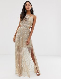 Read more about Asos design maxi dress with geometric embellishment and sheer panels