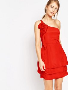 Read more about Oasis ruffle one shoulder dress - red