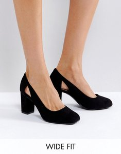 Read more about New look wide fit suedette cut out block heeled court shoe - black