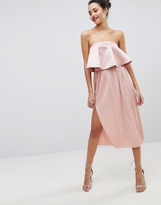 Read more about Asos midi pleated skirt with side button detail - blush