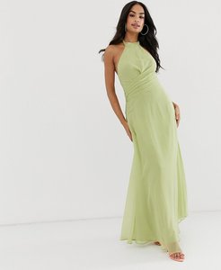 Read more about Asos design maxi dress with high neck and drape waist detail