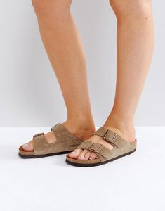 Read more about Birkenstock arizona taupe suede narrow fit flat sandals - taupe suede