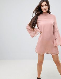 Read more about Qed london tiered sleeve shift dress - blush