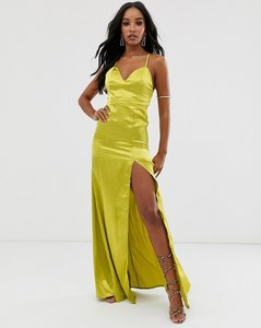 Read more about Club l london satin plunge front maxi dress with high thigh split in lime