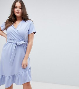 65bc570a1dd Read more about Asos design curve midi dress with belt and frill detail -  blue