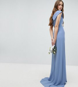 Read more about Tfnc tall bardot maxi bridesmaid dress with fishtail and embellished waist - bluebell