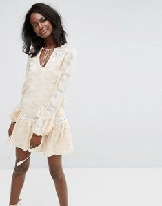 Read more about Missguided crochet trim tassel detail swing dress - peach