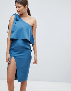 Read more about Missguided one shoulder bow sleeve dress - blue