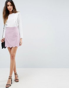 Read more about Asos tailored a-line mini skirt with scallop hem - lilac