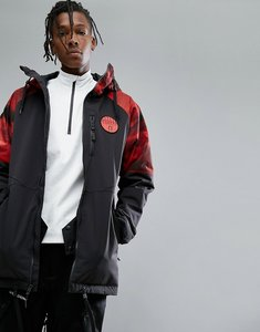 Read more about Armada carson insulated ski jacket red resin print hooded in black - black