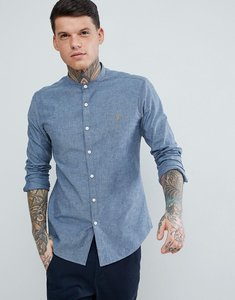 Read more about Farah steen slim fit textured grandad collar shirt in blue - blue