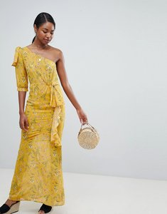 Read more about Prettylittlething one shoulder floral maxi dress - yellow