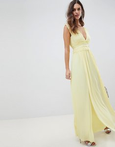 Read more about Asos design premium lace insert pleated maxi dress - yellow