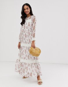 Read more about Y a s festival floral sheer maxi dress with crochet detail