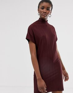 Read more about Native youth high neck plisse shift dress - burgundy