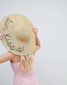 Read more about Asos straw metallic floppy hat with sun kiss sequin print and size adjuster - gold