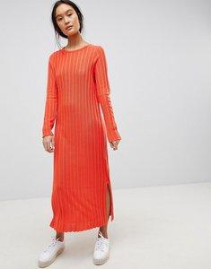 Read more about Asos design midi dress in pleated wide rib - orange