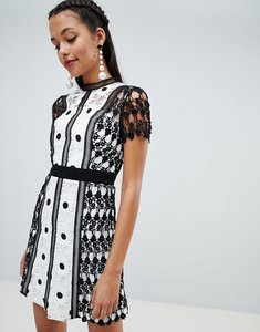 Read more about Chi chi london lace applique a line dress - monochrome